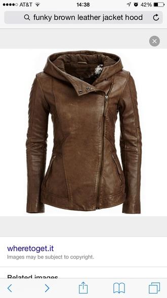 jacket brown leather jacket hoodie asymmetrical danier