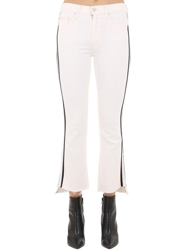 MOTHER Insider Cropped Denim Jeans W/side Bands in black / white
