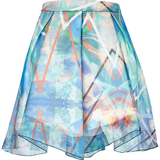 skirt blue abstract print chiffon a line skirt a line skirt blue
