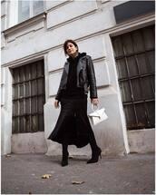 bag,white bag,handbag,asymmetrical skirt,black skirt,slit skirt,black boots,high heels boots,leather jacket,black jacket,hoodie,earrings