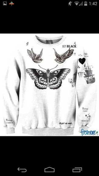 harry styles sweater harry one direction styles swag one direction tattoo butterfly bird