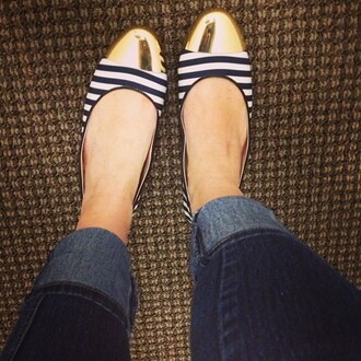 shoes gold ballet flats nautical stripes white and navy