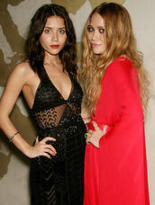 olsen sisters,blogger,make-up,red dress,embellished,black dress,see through dress