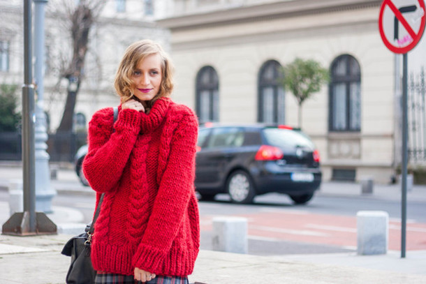 Sweater: tumblr, red sweater, red cable knit sweater, cable knit ...
