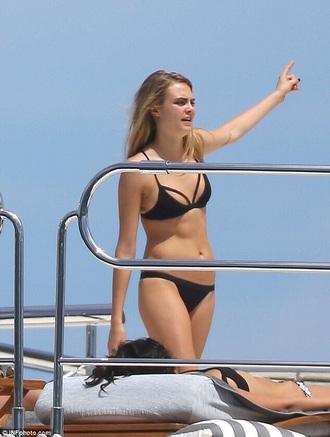 swimwear black bikini cara delevingne