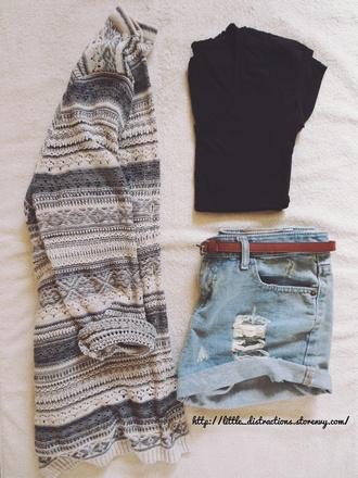 sweater tribal pattern aztec cardigan black denim shorts short belt crop cropped tee t-shirt