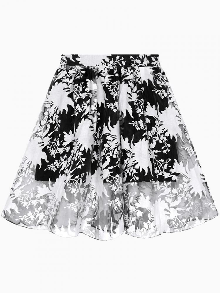 Transparent Floral Print Skirt In Black | Choies