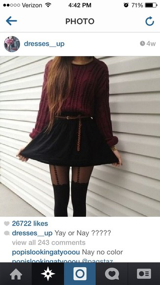 stockings sweater skirt belt shoes,