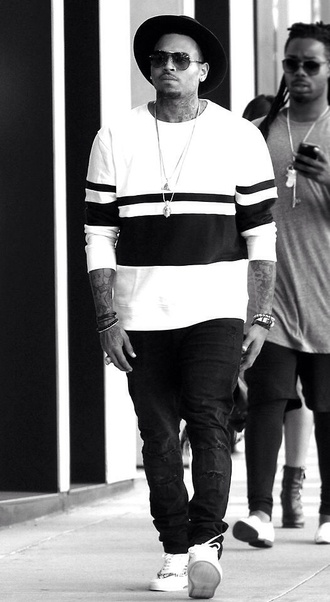 t-shirt long sleeve t-shirt chris brown stipes white menswear hat shirt