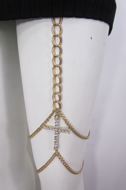 New Women Gold Thigh Leg Metal Chain Links Garter Big Cross Fashion Body Jewelry | eBay