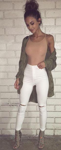 shoes heels coat olive green jacket jeans white jeans jumpsuit beige bodysuit nude bodysutiit