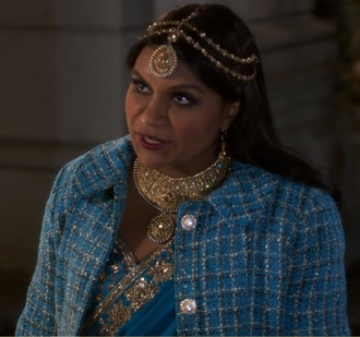 coat blue tweed the mindy project mindy kaling mindy lahiri