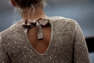 sweater beige brown gold bow girly chic blouse glitter glitter sweater