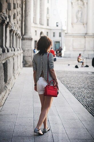 once upon a time blogger bag shorts shoes sunglasses jewels white shorts red bag mini bag open back striped top