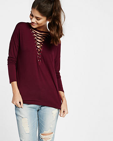 8c9c96cce2 express one eleven deep v-neck lace-up tee