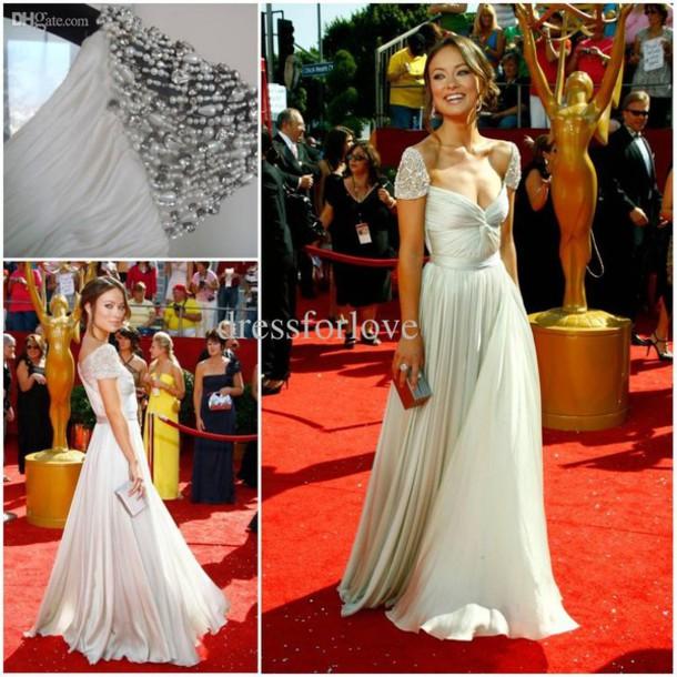 Dress maxi dress prom dress long prom dress white dress white silver red carpet red - Silver red carpet dresses ...