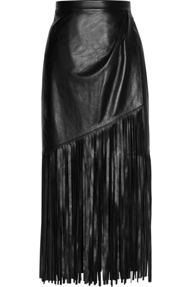 Mellon | Fringed wrap-effect leather skirt | NET-A-PORTER.COM