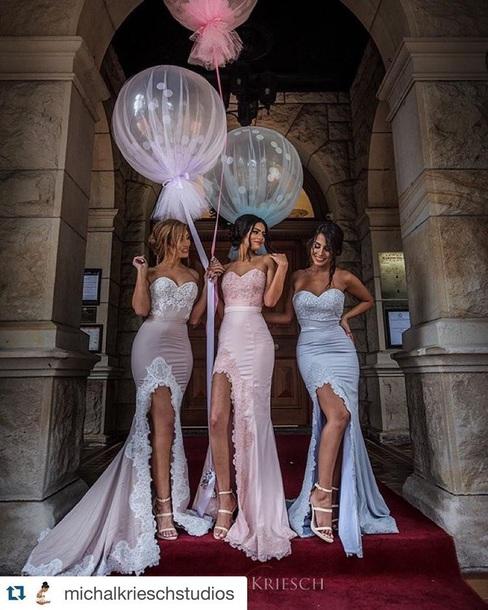dress bridesmaid pastel thigh slit dress