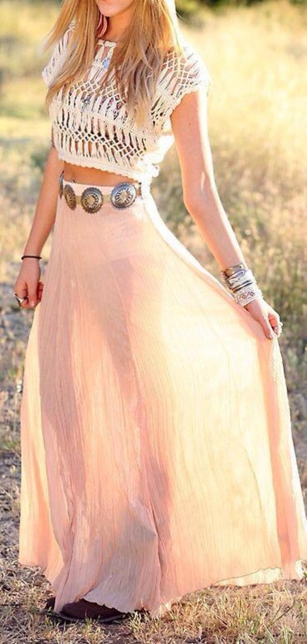 skirt crop-top t-shirt crochet bra top sun outfit maux dress maxi dress jewels shoes belt