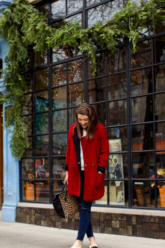 sequins and stripes blogger bag red coat animal print