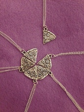scarf,jewels,friend,food,cute,funny,cool,grunge,urban,indie,hipster,friendship necklace,friendship bracelet,food sweater,food tshirt,cool shirts,indie rock,five necklaces,friendship necklaces,pizza slices,necklace,friendship,six,pizza,friends,neckless friends pizza pls,pizza necklace