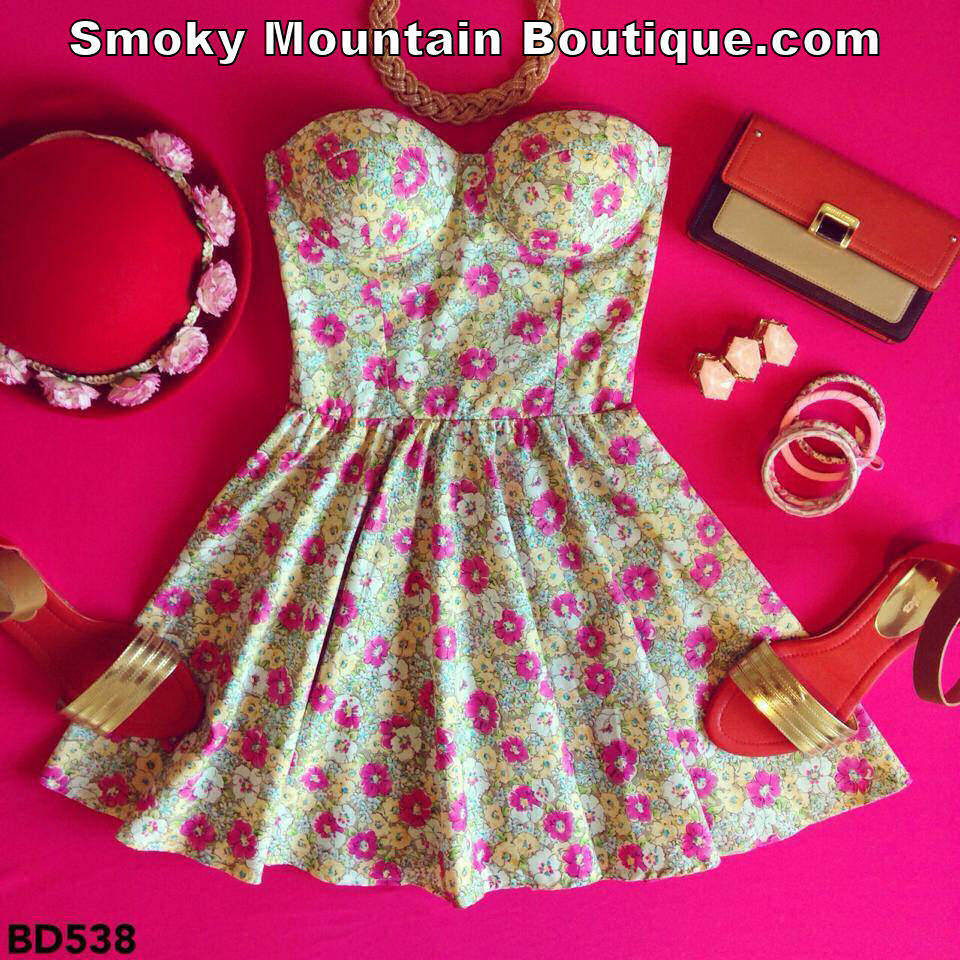 Emily Floral Retro Bustier Dress with Adjustable Straps - Size S/M BD 538 - Smoky Mountain Boutique