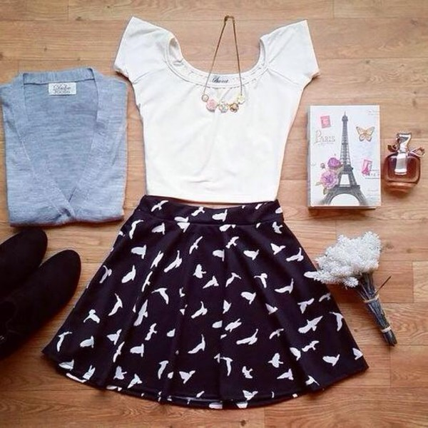 cardigan t-shirt birds girly white black black and white casual feminine fashion skirt