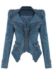 jacket,fashion,blogger,studded jacket,dress,retro dress,bows dress,vintage,50s style,blue dress,midi dress