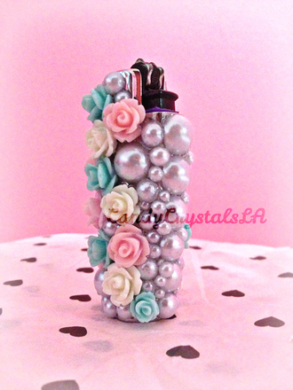 jewels roses purple lighter pearl flame