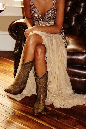 sequins sequin dress cowboy boots cowgirl boots prom dress nude dress dress boots nude prom dress cute dress champagne dress champagne prom dress bling rhinestones poufy dress poofy dress shoes style straps sleeveless dress slit dress vneck dress beig sparkle dress country white