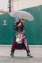 coat,streetstyle,purple,leather,leather coat,boots,black boots,umbrella,see through,transparent  bag