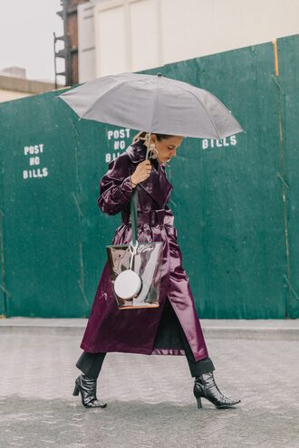 coat streetstyle purple leather leather coat boots black boots umbrella see through transparent  bag