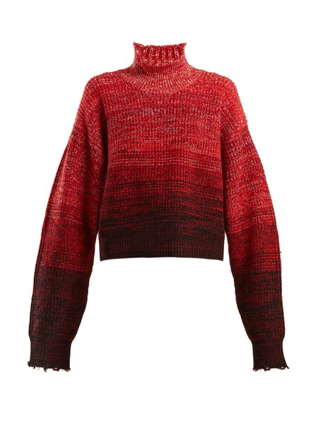 sweater high wool red