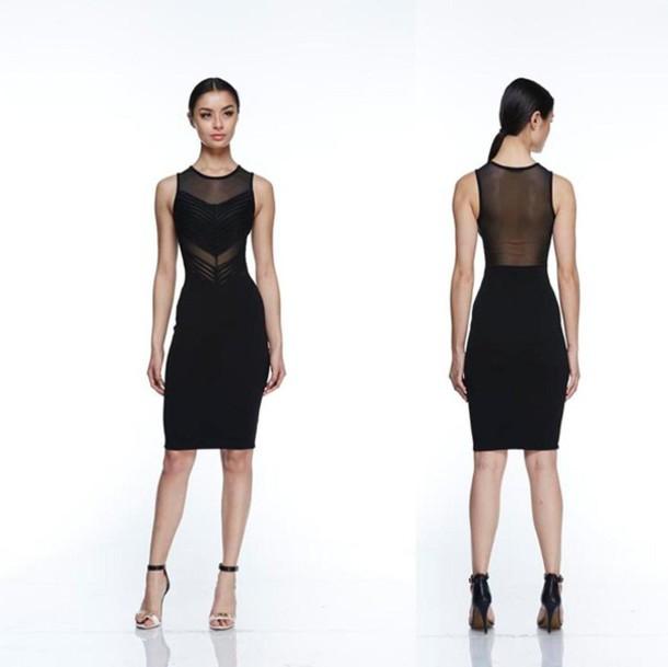 Dress: black, mesh, sleeveless, party, birthday, sheer, sexy ...