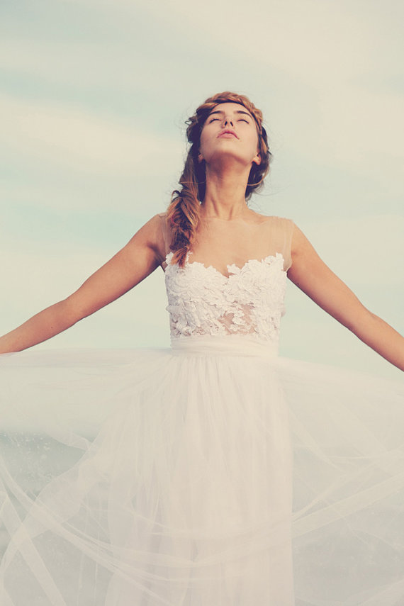 Dreamy sheer neck wedding dress with stunning by Graceloveslace