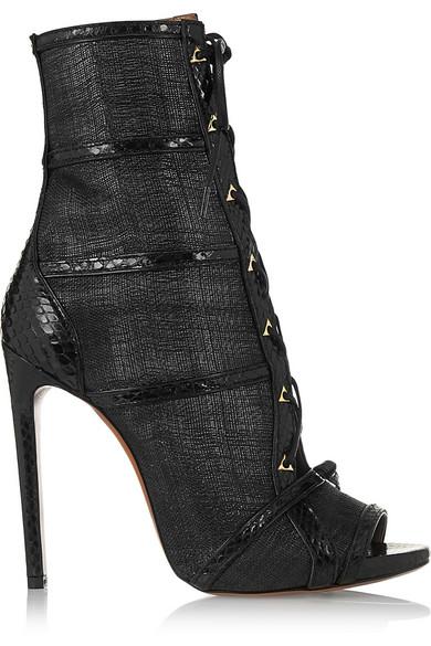Alaïa | Watersnake-trimmed raffia ankle boots | NET-A-PORTER.COM