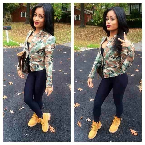 Shoes jacket camouflage timberlands black leggings purse gold chain marivelle linda ...