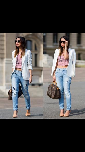 jacket white blazer white blazer jeans boyfriend jeans ripped jeans