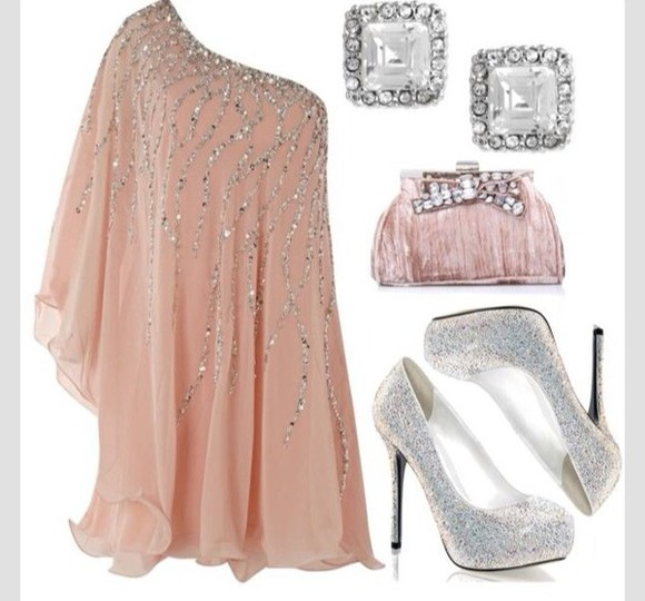 prom dress pink dress light pink jewels champagne champagne dress silver sparkly dress sequin dress