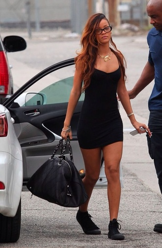 dress black short slip vest dress rihanna casial bag