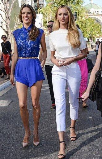shirt candice swanepoel alessandra ambrosio victoria's secret victoria's secret model elegant classy pants shoes cropped pants