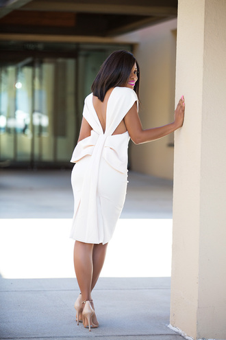 jadore-fashion blogger dress shoes white dress nude heels high heel pumps