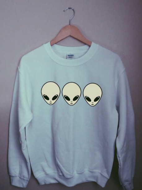 crewneck sweatshirt alien cotton
