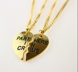 jewels gold partners in crime  necklace infinity heart necklace gold bff friends weheartit pretty little liars
