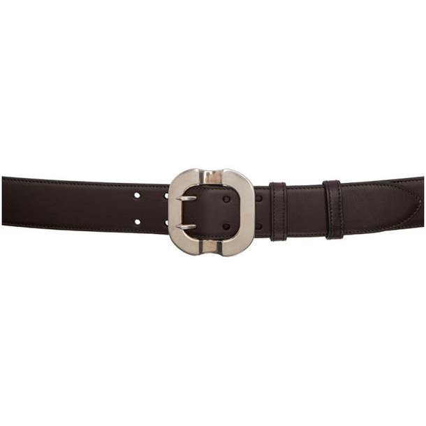 Miu Miu Brown Leather Clasps Belt