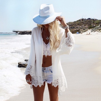 cardigan girl girly girly wishlist lace lace cardigan cute style white kimono blouse cover up