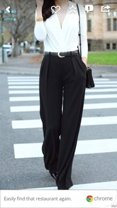 blouse,low cut,pants,white,black,stylish,official,white top,bag,jewels,belt,phone cover,top,smartcasual,business shirt,black and white