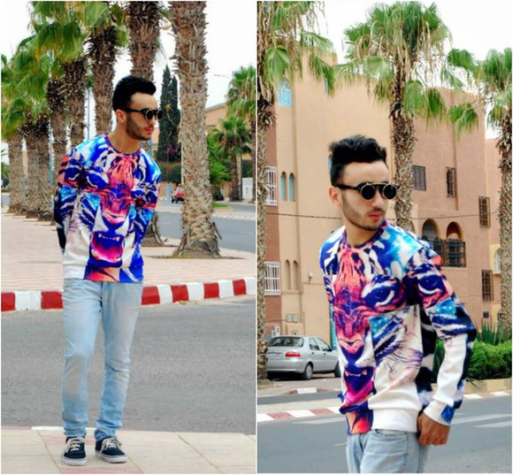 tiger print flip up sunglasses blogger lookbooker lookbook swagg bouaadii Choies giantvintage vans sunglasses
