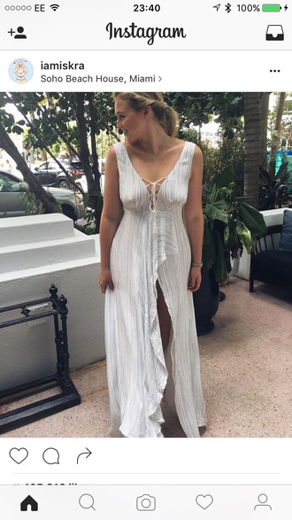dress iskra lawrence white dress lace up dress summer dress