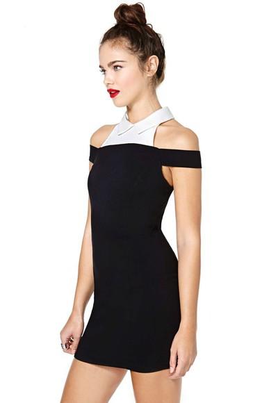 white collar little black dress dres body con body con dress look sharp nastygal nastygal.com black body con dress